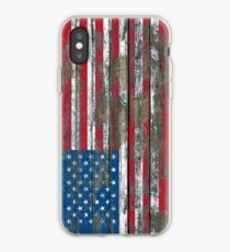 Flag of United States on Rough Wood Boards Effect iPhone Case
