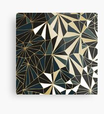 New Art Deco Geometry - Emerald Green & Gold Metal Print