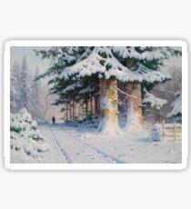 Vintage Walter Moras - Jager in Winterwald 1876 Fine Art Sticker