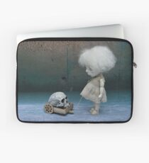 Creepy Little Girl with a Skull Gothic Art Doll Laptop Sleeve