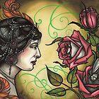 fancy lady with roses tattoo flash, mata hari tattoo art, hypnotic by resonanteye