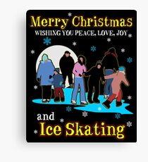 Merry Christmas Ice Skating Gift Canvas Print