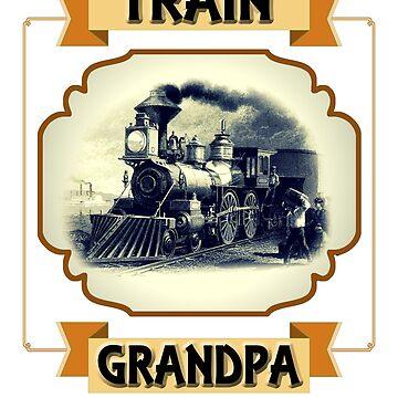 Mens TRAIN GRANDPA - Vintage Locomotive Gift by tuffkitty