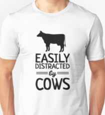 Easily Distracted By Cows Slim Fit T-Shirt