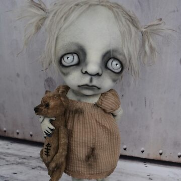 Macabre Child Doll with a Teddy Bear by darkalleydolls