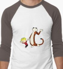 Calvin and Hobbes Dancing Pose Men's Baseball ¾ T-Shirt