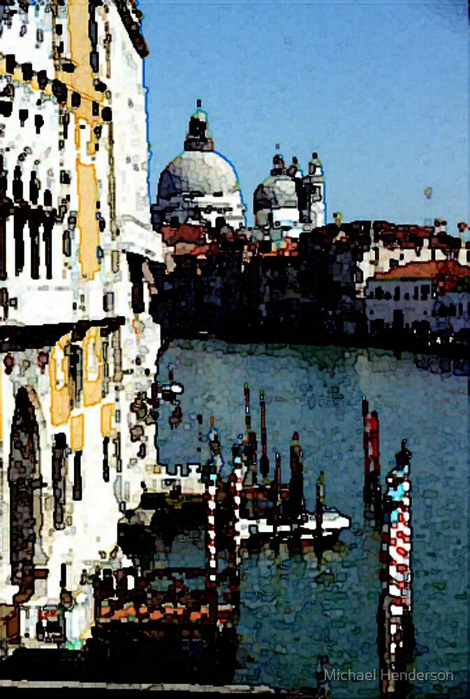Grand Canal from the Accademia Bridge in Venice (Watercolor) by Michael Henderson