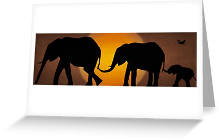 Silhouettes of 3 Elephants Holding Tails by ibadishi