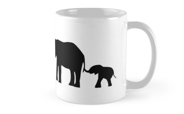 Elephants Holding Tails Silhouette