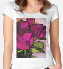Pink Purple Roses and Green Leaves Women's Fitted Scoop T-Shirt