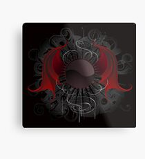 Gothic round banner with the red wings dragon Metal Print