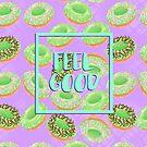 Feel Good with Matcha Donuts on Purple by aidadaism
