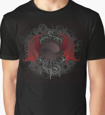Gothic round banner with the red wings dragon Graphic T-Shirt