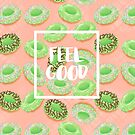 Feel Good with Matcha Donuts on Pastel Pink by aidadaism