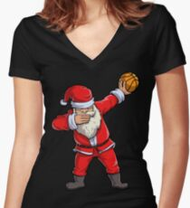 Dabbing Santa Basketball T Shirt Christmas Hat Ball Sport Women's Fitted V-Neck T-Shirt