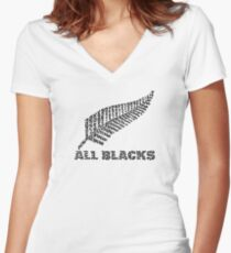 "The Rugby Team ""All Blacks"" of New Zealand Women's Fitted V-Neck T-Shirt"