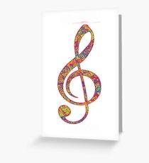 Psychedelic Music note 2 Greeting Card