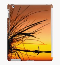 Silhouette of a Tuft of Grass with Barbed Wire at Sunset iPad Case/Skin