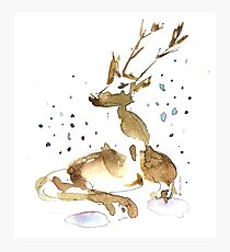 Christmas watercolor with reindeer and snow Photographic Print