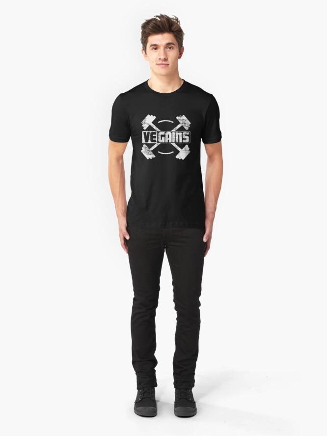 Alternative Ansicht von Vegains Vegan Muscle Power - Amazing Vegan Workout Gift Slim Fit T-Shirt