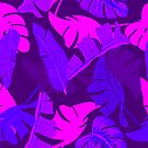 Ultra violet tropical leaves of palm tree. by Lusy Rozumna