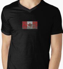 Flag of Canada on Rough Wood Boards Effect Men's V-Neck T-Shirt