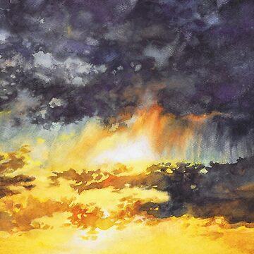 Watercolor Sky No 5 - colorful rain clouds by kkmiecikart