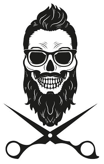 Pósters «T-shirt tienda de peluquería de calavera» de ...