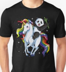 Panda Riding Unicorn Shirt Funny Meme Rainbow T-shirt Gifts for Panda Lovers Unisex T-Shirt