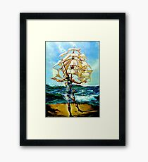 THE SHIP : Vintage Abstract Fantasy Painting Print Framed Print