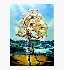 THE SHIP : Vintage Abstract Fantasy Painting Print Photographic Print