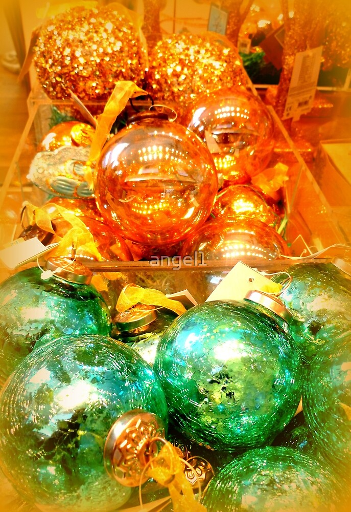 Xmas baubles in gold and green by ©The Creative  Minds