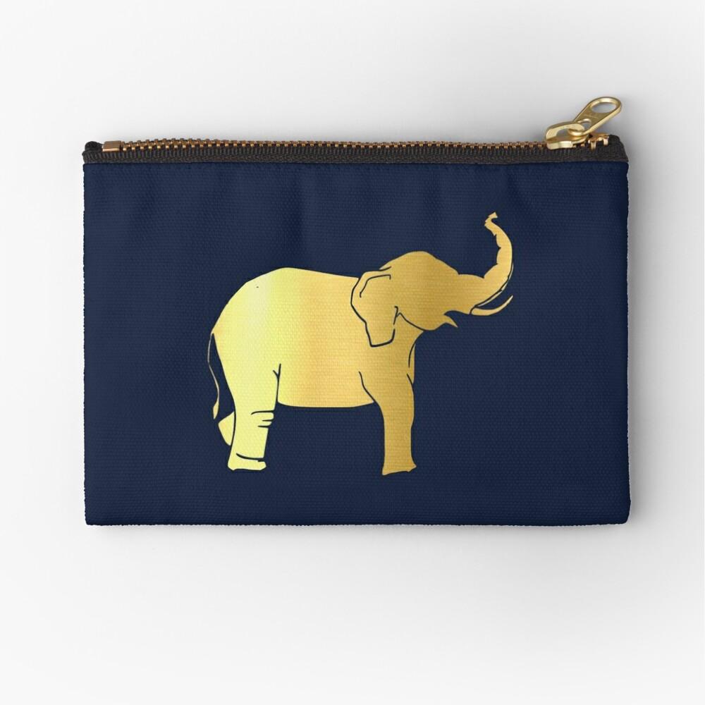 Gold Elephant Zipper Pouch