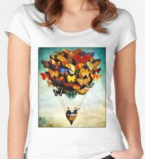 BUTTERFLY BALLOON : Vintage Abstract Painting Print Women's Fitted Scoop T-Shirt