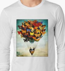 BUTTERFLY BALLOON : Vintage Abstract Painting Print Long Sleeve T-Shirt