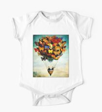 BUTTERFLY BALLOON : Vintage Abstract Painting Print One Piece - Short Sleeve