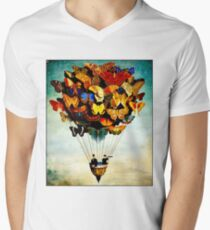 BUTTERFLY BALLOON : Vintage Abstract Painting Print Men's V-Neck T-Shirt