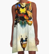BUTTERFLY BALLOON : Vintage Abstract Painting Print A-Line Dress