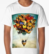 BUTTERFLY BALLOON : Vintage Abstract Painting Print Long T-Shirt