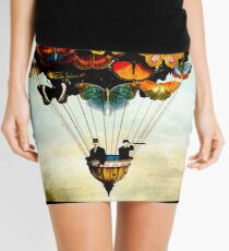 BUTTERFLY BALLOON : Vintage Abstract Painting Print Mini Skirt