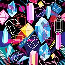 Beautiful seamless pattern with colorful crystals  by Tanor