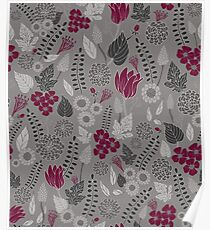 Burgundy and Gray Floral/Botanical Pattern Poster