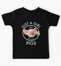 Super Cute Just A Girl Who Loves Pigs Flower Kids Tee