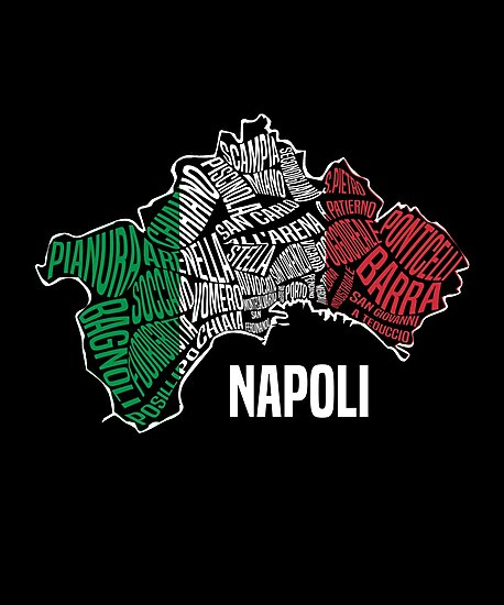 Napoli - Naples, Italy map & Italian flag\