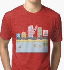 Boston Skyline With Monsters Tri-blend T-Shirt