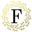 Monogramm-Buchstabe F | Personalisiert | Schwarz und Gold Design von PraiseQuotes
