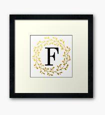 Monogram Letter F | Personalised | Black and Gold Design Framed Print