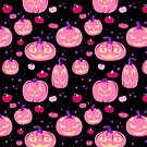 Pink and purple halloween cat o' lanterns by Elizabeth Levesque
