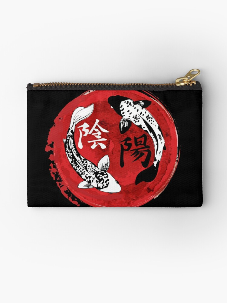 Koi Fish Kanji Yin Yang Taijitu Symbol Studio Pouches By Maindeals