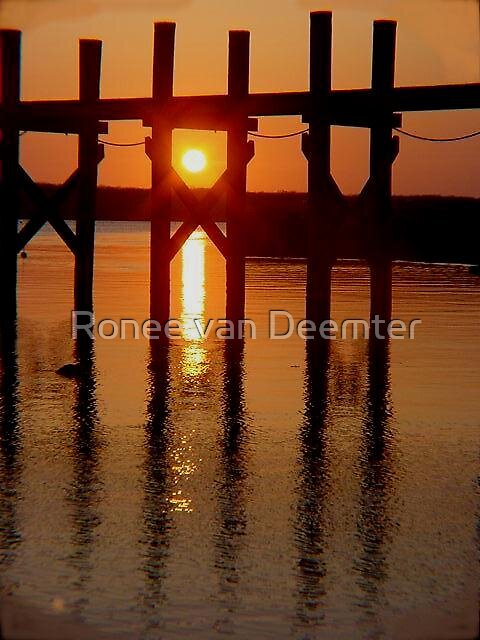 Late afternoon sun peeping through the pier by Ronee van Deemter